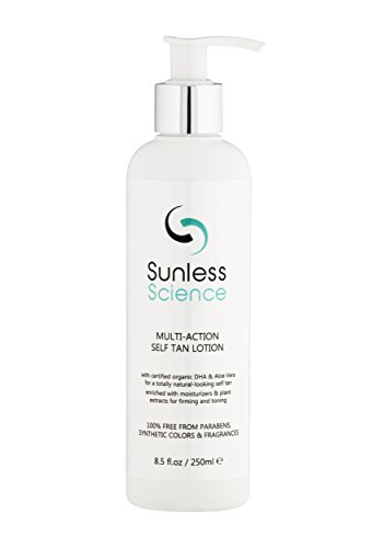 Sunless Science Self Tanner - Best Organic Natural Sunless Tanning Lotion with Natural Ingredients Fragrance-Free Paraben-Free Non-Toxic Self Tan Cream for Sensitive Light Medium and Dark Skin - Ray Light Tanning