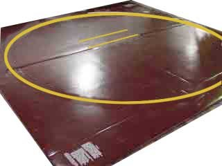 Wrestling Mat - Remnant, 12'x12' (One Piece), Mat:Black, Markings: Old Gold, 1'' - One Piece by Resilite