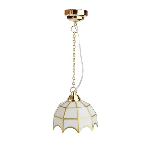 MagiDeal 1:12 Dollhouse Miniature Ceiling Lamp LED Light