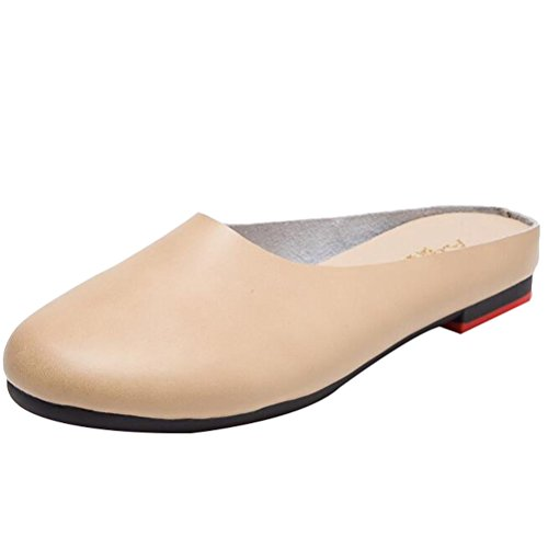 Minibee Women's Solid Leather Casual Slip-On Slipper Mule Loafer Flats Shoes Beige