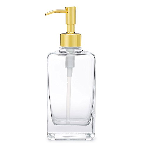 Rail19 Casa Glass Soap Dispenser with Metal Pump (Gold) ()