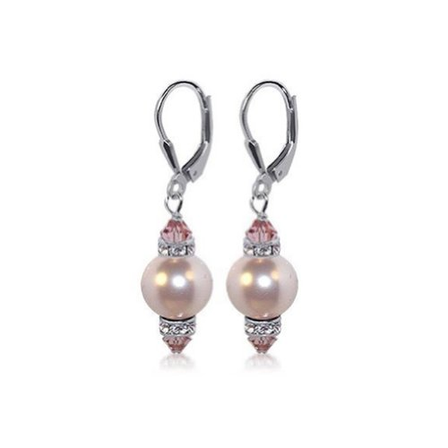 Sterling Silver 10mm Pink Imitation Pearl Crystal Earrings Made with Swarovski Elements - Pink Pearl Earrings 10mm
