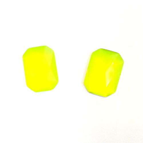 24 Neon Yellow Rectangle Faceted DIY Art Resin Flat back Rhinestone 13mm x 18mm ~ T2-24 x 6