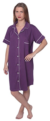 Beverly Rock Women's Soft Jersey Knit Cotton Blend Button Down Sleepshirt Pajama Top with Piping Finish Y18_WPJ01 Purple 2X