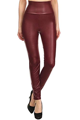 Fashion Leggings (Womens Sexy Tight Fit Faux Leather High Waisted Leggings (Burgundy, S))