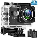 Action Camera 4K 16MP WiFi Ultra HD Underwater Camera 30M Waterproof Sports Camera 170 Degree Wide Angle Sony Sensor with 2 Batteries & 28 Accessories Kits