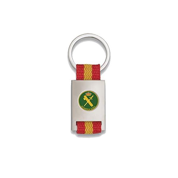 Tiendas LGP Albainox- Llavero Bandera DE ESPAÑA y Emblema Guardia Civil, Plateado 1