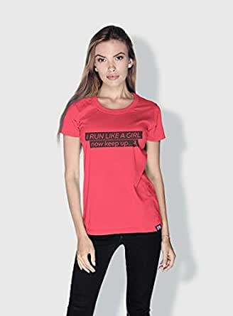 Creo I Ran Like A Girl Funny T-Shirts For Women - Xl, Pink