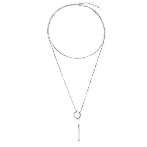 Long Necklace 925 Sterling Silver Women Metal Ring Stick Pendant Charming Chain Statement Necklace Sterling Silver Stick