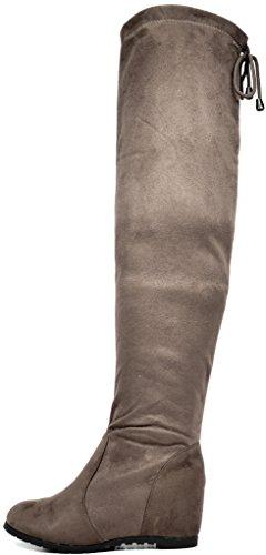 TRAUM-PAAR-Frauen Overknee-Schenkel-hohe Ausdehnungs-Aufladungen Khaki