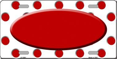 Smart Blonde Red White Polka Dot Print With Red Center Oval Metal Novelty License Plate LP-2991