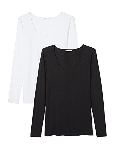 Daily Ritual Women's Jersey Long-Sleeve Scoop Neck T-Shirt, Black/White, (Scoop Neck Tee Shirt)