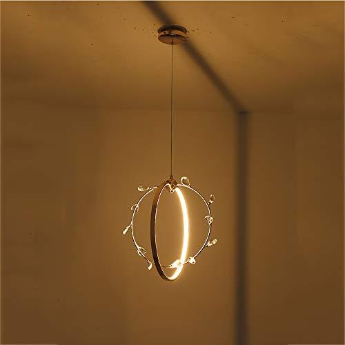 - Living Room LED Pendant Light,Chandelier Ceiling Crystal Hanging Lights Aluminium Indoor Light Fixture,Cord Adjustable,WarmWhite,13W