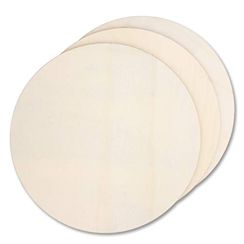 Bright Creations 3-Pack Unfinished Wood Circle Cutouts for DIY Crafts, 11 Inches Diameter