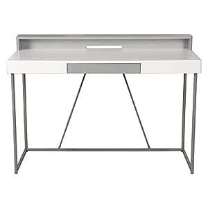 Vogue Office Desk, White & Grey - H 110 cm x W 75 cm x D 55 cm