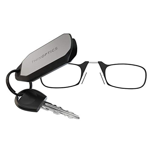 ThinOptics Reading Glasses + Keychain Case | Black Frames, 1.50 ()