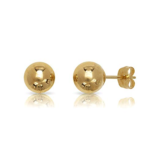 14 Karat Yellow Gold Ball Earrings (7 mm) - Ball Yellow 7mm Gold Earrings