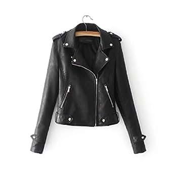 neveraway Womens Faux Leather Zip Up Lapel Motorcycle Biker Coat Jacket Black S