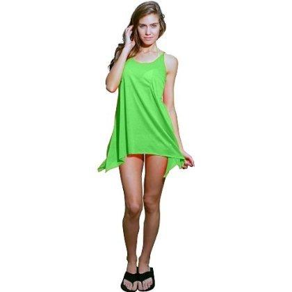 Ingear sólido alargado lados tanque vestido Verde