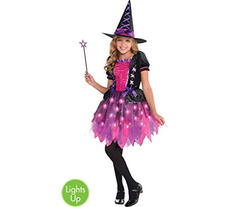(Amscan 846863 Girls Light-Up Sparkle Witch Costume, Medium (8-10),)