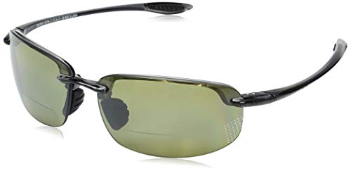 Maui Jim Ho'okipa Reader (Universal Fit) HT807N-1125 | Polarized Smoke Grey Rimless Frame Sunglasses, Maui Ht Lenses, with with Patented PolarizedPlus2 Lens Technology 2.5