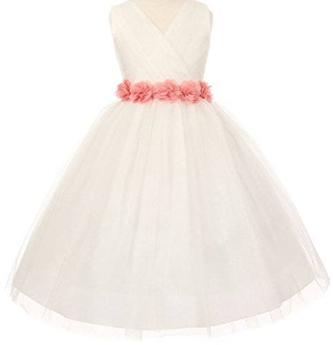 Little-Girls-Ivory-Tulle-V-Neck-Floral-Sash-Flowers-Girls-Dresses