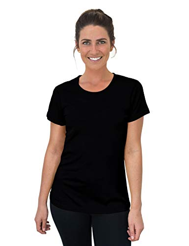 Woolx Women's Addie Soft Lightweight Merino Wool Tee,Eliminates Odor & Sweat, Black, Medium