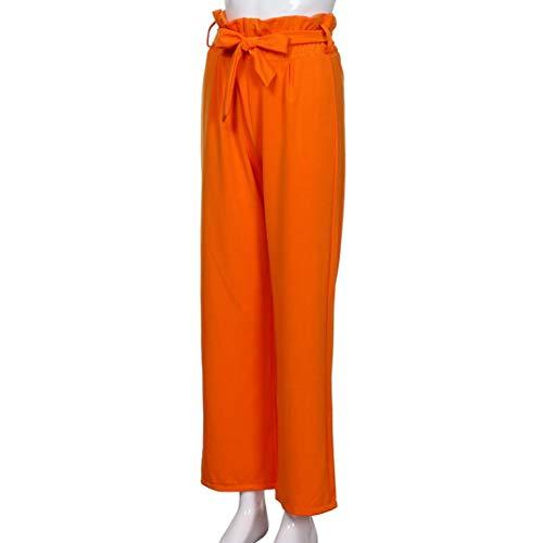 Colore Puro Forti a Arancione vita da Con Pantalone Casual donna Elastico Pantaloni In Baggy Eleganti Lino Comode Moda Vita Elecenty Pantaloni alta Taglie Donna wqI8gSX