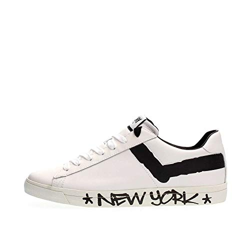 bianca nero Basket logo Pony con in pelle York New qZwx8wXT