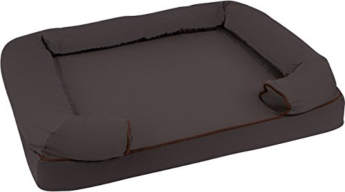 Trademark Innovations 36″ L x 25″ W Large Bolster Pet Bed Orhopedic Lounger with Memory Foam and Zippered Cover