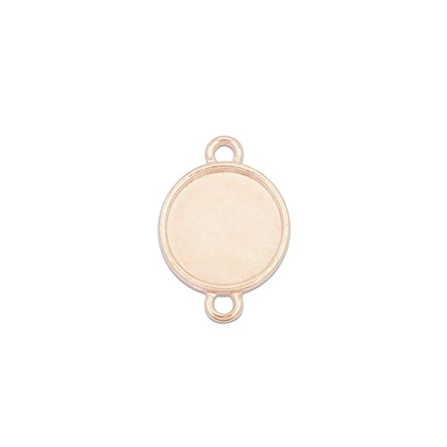 12mm Round Cabochon Connector Tray Setting Bezel Connector Double Loop Pack of 50 (Rose Gold Plated)