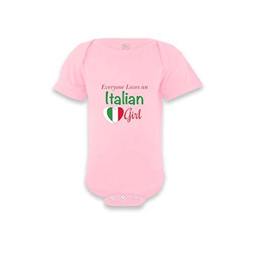 Everyone Loves an Italian Girl Short Sleeve Envelope Neck Boys-Girls Cotton Baby Bodysuit One Piece - Soft Pink, 6 Months