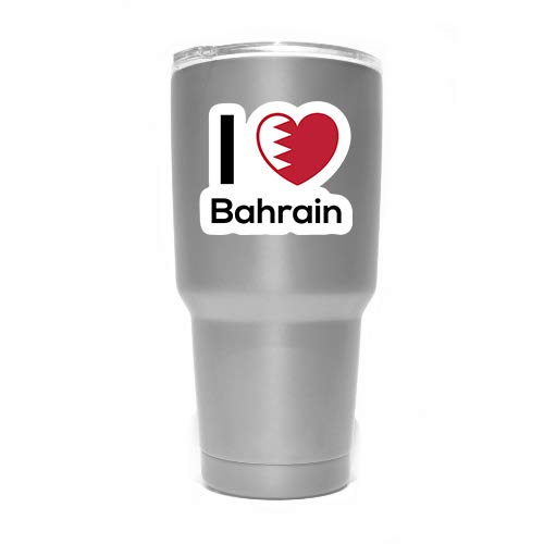 Love Bahrain Flag Decal Sticker Home Pride Travel Car Truck Van Bumper Window Laptop Cup Wall MKS0192 Two 3 Inch Decals