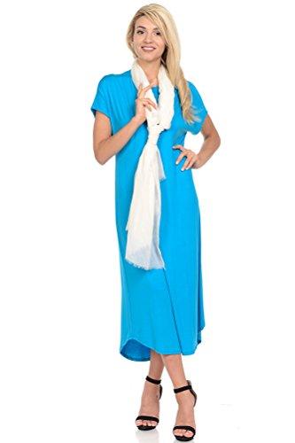 (iconic luxe Women's A-Line Short Sleeve Midi Dress Medium Turquoise )
