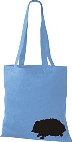 ShirtInStyle Bolso de tela Bolsa de algodón lustige Animales Erizo azul claro