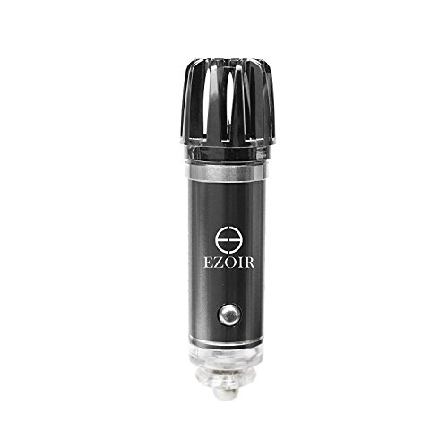 Ezoir Car Air Purifier (Plug In) Car Air Freshener, Purifying Cabin Filter for Autos | Portable, Travel Use | Freshens, Cleans | Safe, Natural Ionizer of Dust, Smoke, Odors, Bacteria (Grey) (Auto Ionizer)