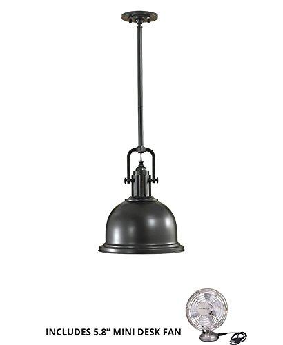 - Feiss P1147DBZ, Parker Place Cone Pendant, 1LT, 100 Watts, Bronze (Includes Mini Desk Fan)