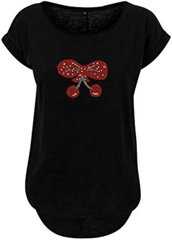 BlingelingShirts damska koszulka duże rozmiary czerwona kokardka w stylu rockabilly, rockabella Loop Glitter: Odzież