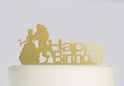 Cheyan Birthday Cake Topper - Beauty And The Beast Cake Topper - Acrylic Cake Topper - Happy Birthday (Beauty And The Beast Party Food Ideas)