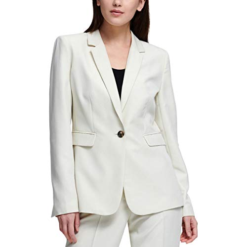 (DKNY Womens Suit Separate Office Wear One-Button Suit Jacket Ivory 12)