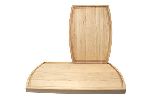 (KitchenTalent Maple Cutting Board Set - Large and Small Maple Hardwood Chopping Boards With Juice Groove - 10.5 x 16 x .75-9 x 12 x .75 - Solid Wood Butcher Block - Great Gift Idea)