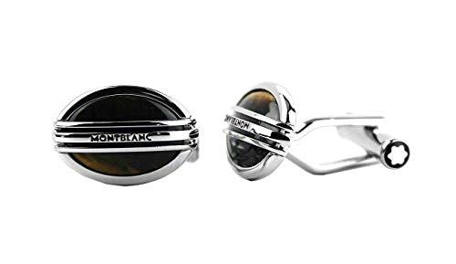 Montblanc Tiger Eye Steel Cufflinks Oval Three Rings New Box Germany 107049