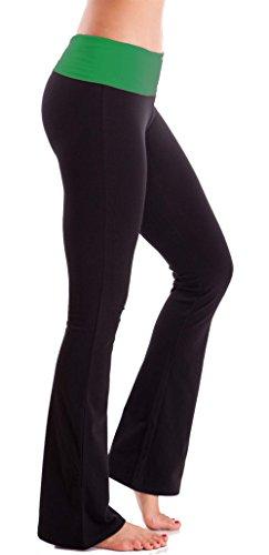 Foldover contraste cintura Bootleg Flare pantalones de yoga NEGRO/VERDE (KELLYGREEN)