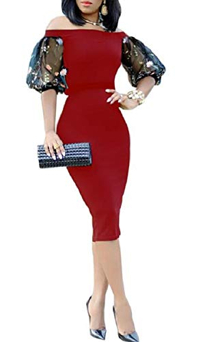 LETSVDO Womens Chic Off The Shoulder Short Sleeve Bodycon Red Long Dress for Prom Gown Club Party
