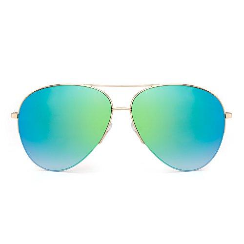Retro Sol Oversized Espejo Mujer Gafas Anteojos Rimless de Verde Espejo Dorado Semi Hombre de Aviador wFTRqSZ