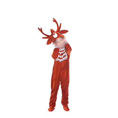 Children's Animal Performance Halloween Cosplay Jumpsuit Costume Long Sleeve,Reindeer Long,100cm -