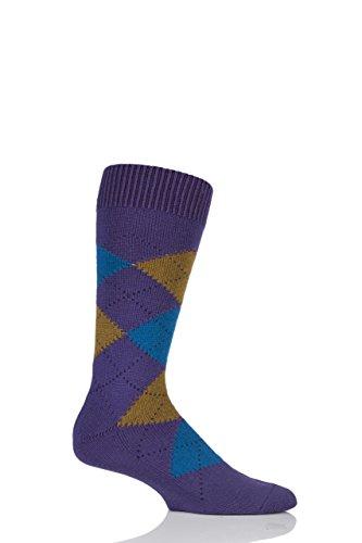 - Mens 1 Pair Pantherella Racton Heavy Gauge Merino Wool Argyle Socks Dark Purple 9-11.5 Mens