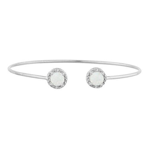 Genuine Opal & Diamond Round Bangle Bracelet .925 Sterling Silver