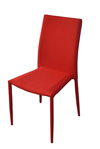 Dining Room Chairs Set of 4, Fabric Chair for Living Room 4 Pieces (Red) by Divano Roma Furniture (Image #2)