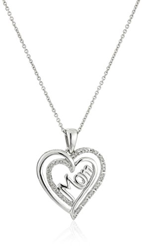 Sterling Silver Diamond Mom Double Heart Pendant Necklace (1/10 cttw), 18